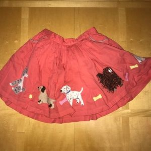 👧🏼 Mini Boden Orange Dog Embroidered Skirt